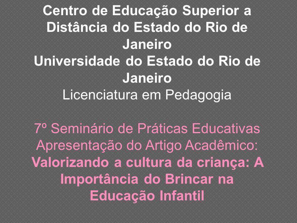 7º Seminário de Práticas Educativas Apresentação do Artigo Acadêmico: