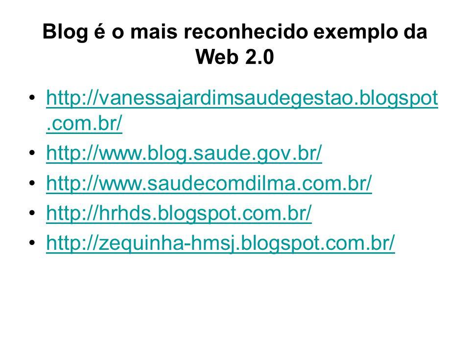 Blog é o mais reconhecido exemplo da Web 2.0