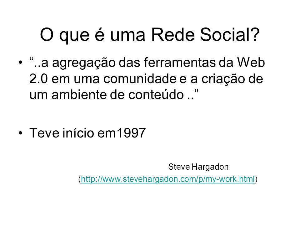 O que é uma Rede Social ..a agregação das ferramentas da Web 2.0 em uma comunidade e a criação de um ambiente de conteúdo ..