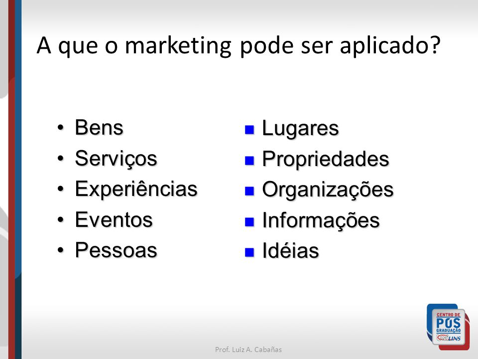 A que o marketing pode ser aplicado