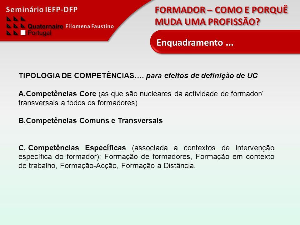 Enquadramento … TIPOLOGIA DE COMPETÊNCIAS…. para efeitos de definição de UC.