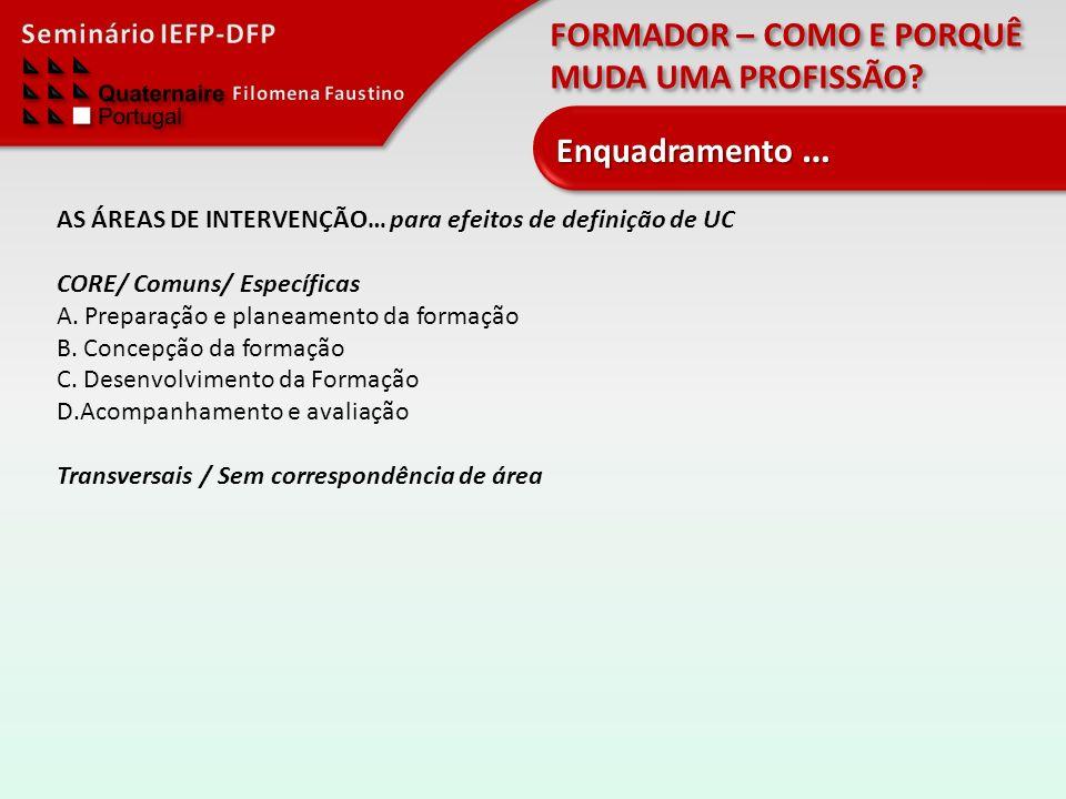 Enquadramento … AS ÁREAS DE INTERVENÇÃO… para efeitos de definição de UC. CORE/ Comuns/ Específicas.
