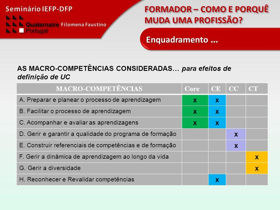 Enquadramento … AS MACRO-COMPETÊNCIAS CONSIDERADAS… para efeitos de definição de UC. MACRO-COMPETÊNCIAS.