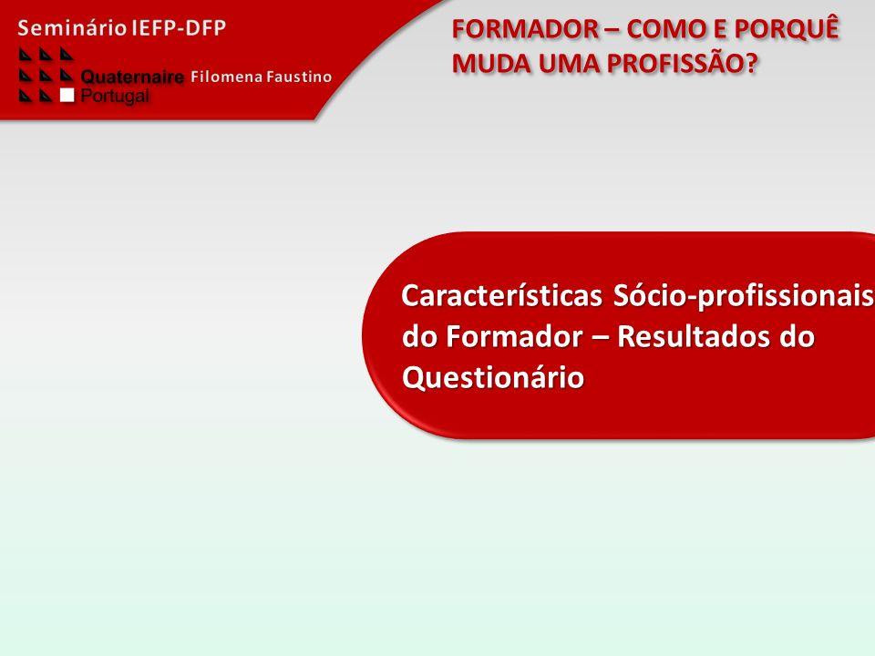 Características Sócio-profissionais do Formador – Resultados do Questionário