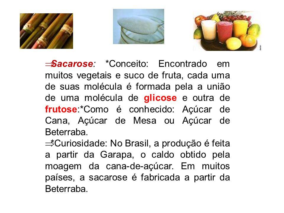Sacarose: *Conceito: Encontrado em muitos vegetais e suco de fruta, cada uma de suas molécula é formada pela a união de uma molécula de glicose e outra de frutose:*Como é conhecido: Açúcar de Cana, Açúcar de Mesa ou Açúcar de Beterraba.