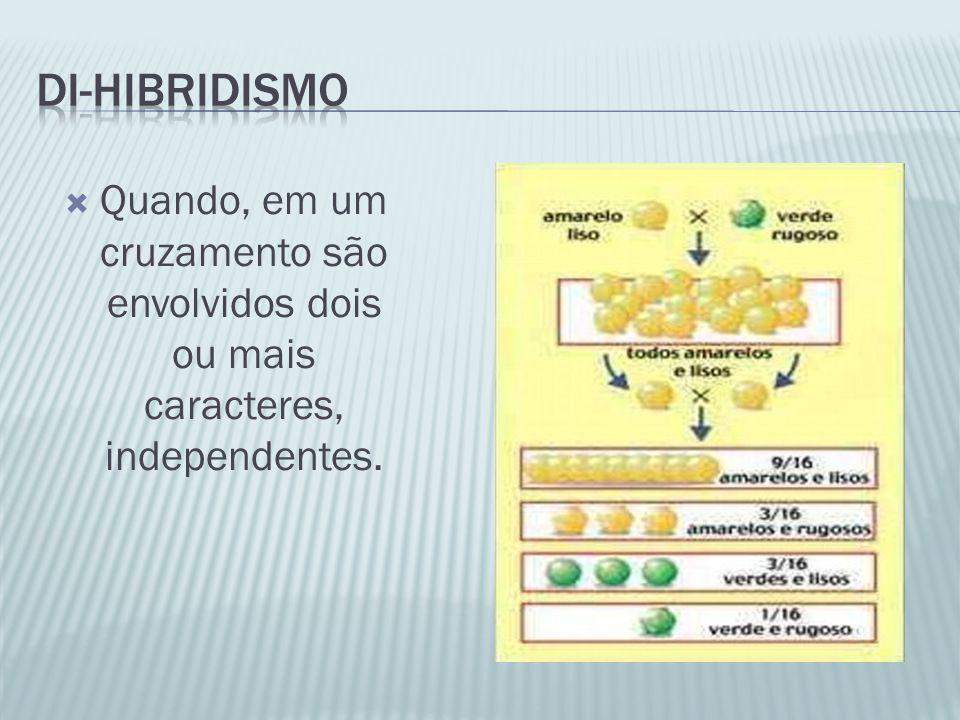 Di-Hibridismo Quando, em um cruzamento são envolvidos dois ou mais caracteres, independentes.