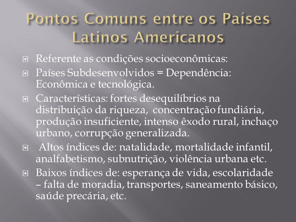 Pontos Comuns entre os Países Latinos Americanos