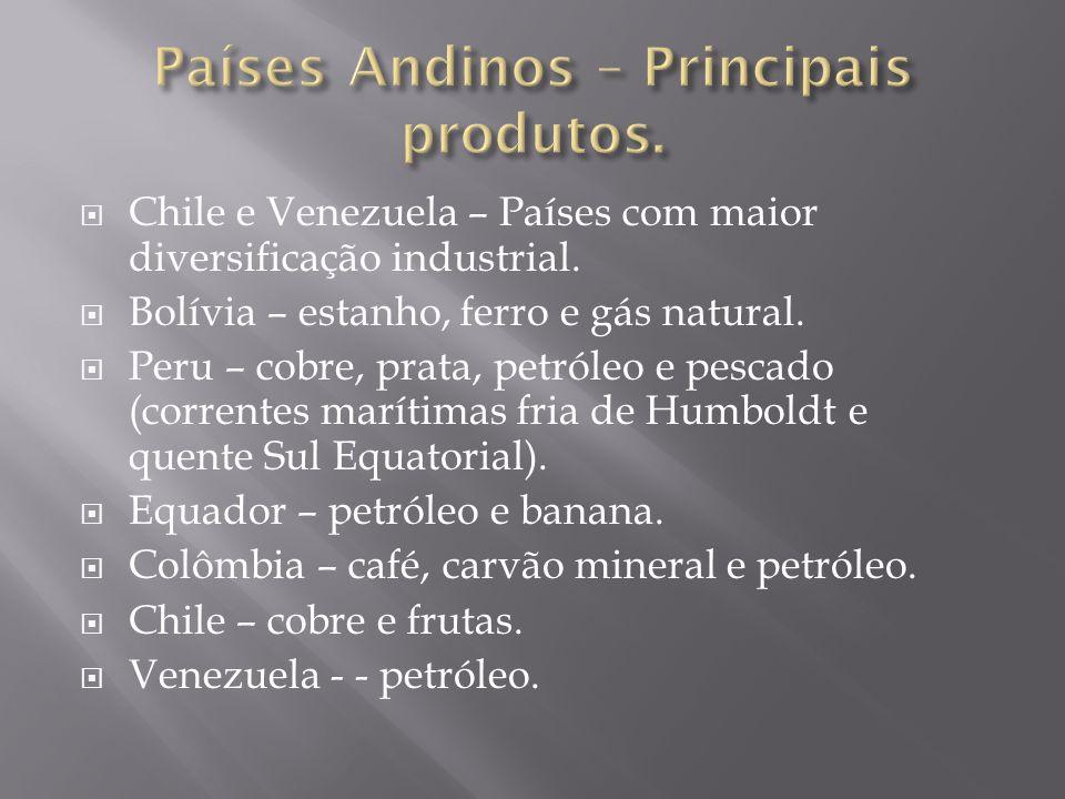 Países Andinos – Principais produtos.