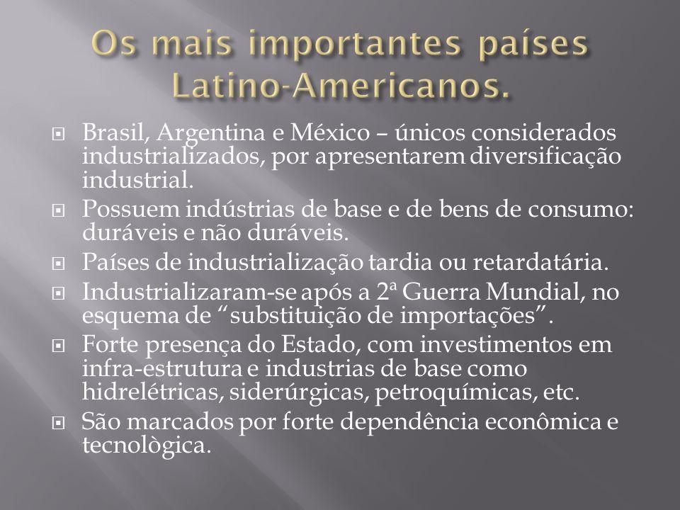 Os mais importantes países Latino-Americanos.