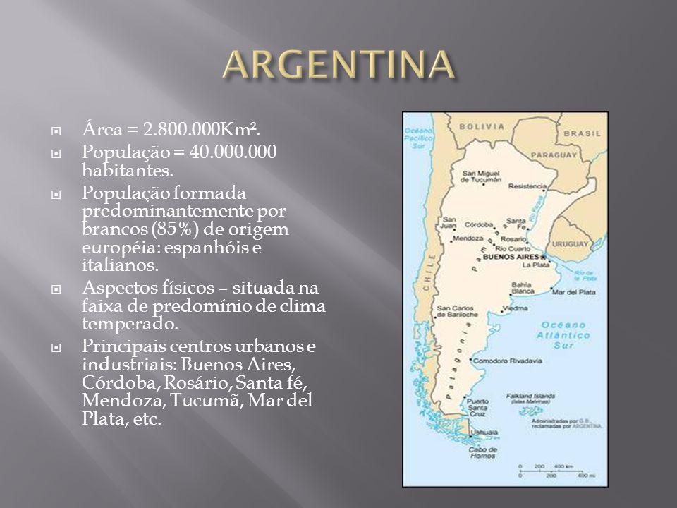 ARGENTINA Área = 2.800.000Km². População = 40.000.000 habitantes.