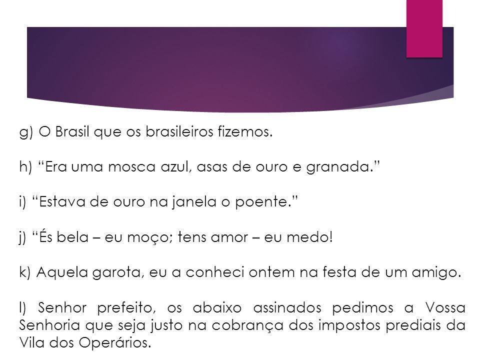 g) O Brasil que os brasileiros fizemos.
