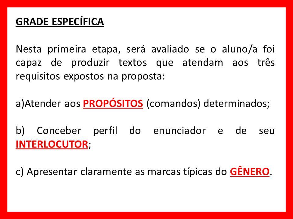GRADE ESPECÍFICA Nesta primeira etapa, será avaliado se o aluno/a foi capaz de produzir textos que atendam aos três requisitos expostos na proposta: