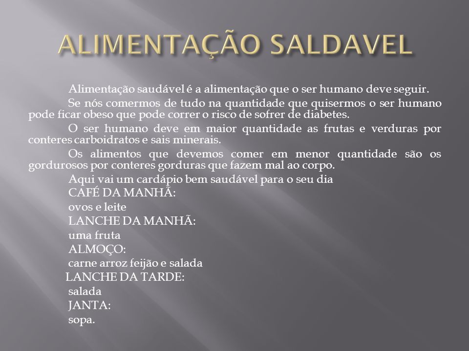 ALIMENTAÇÃO SALDAVEL