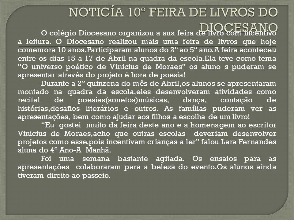 NOTICÍA 10º FEIRA DE LIVROS DO DIOCESANO