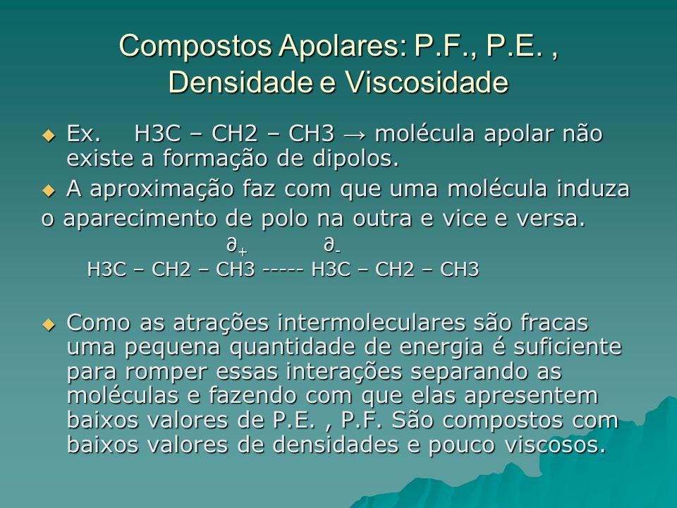 Compostos Apolares: P.F., P.E. , Densidade e Viscosidade