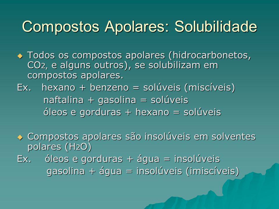 Compostos Apolares: Solubilidade