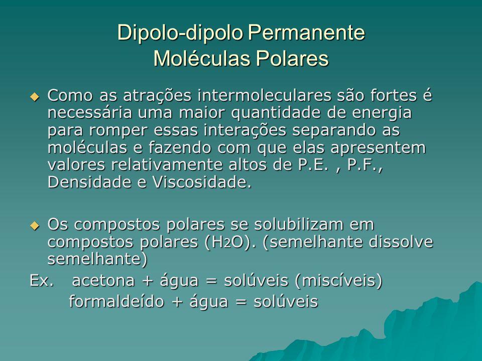 Dipolo-dipolo Permanente Moléculas Polares