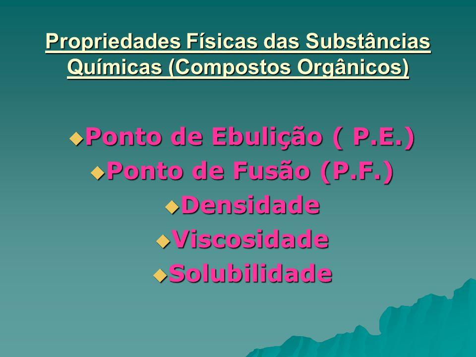 Propriedades Físicas das Substâncias Químicas (Compostos Orgânicos)