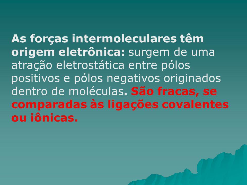 As forças intermoleculares têm origem eletrônica: surgem de uma atração eletrostática entre pólos positivos e pólos negativos originados dentro de moléculas.