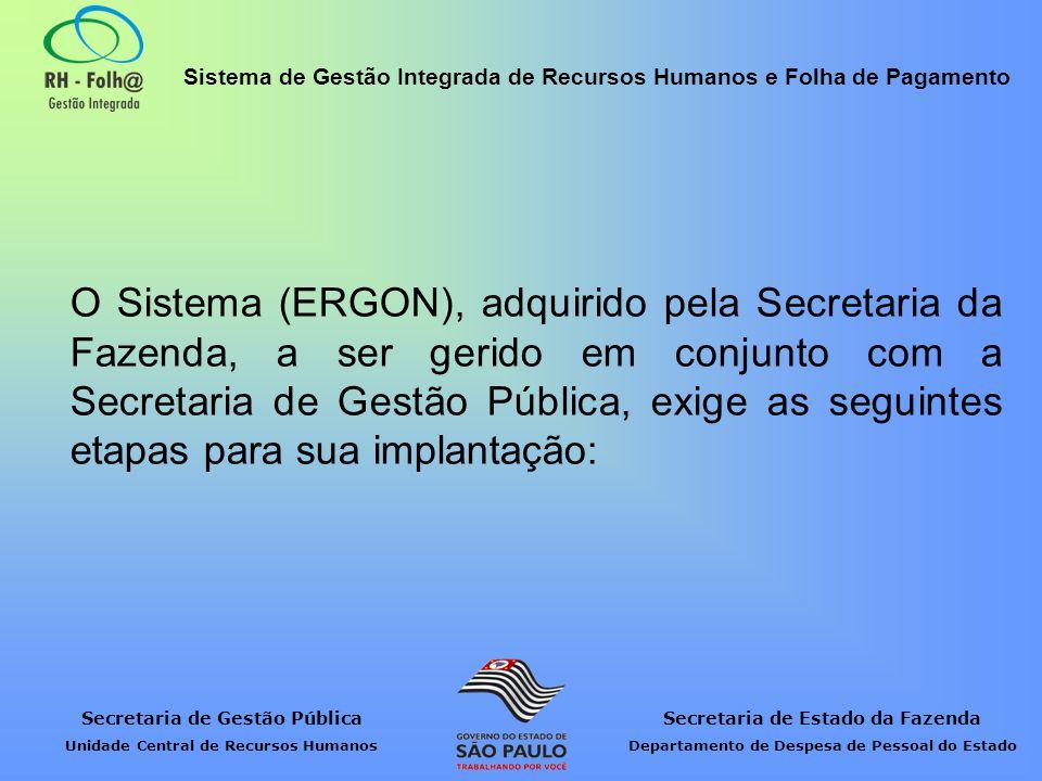 O Sistema (ERGON), adquirido pela Secretaria da Fazenda, a ser gerido em conjunto com a Secretaria de Gestão Pública, exige as seguintes etapas para sua implantação: