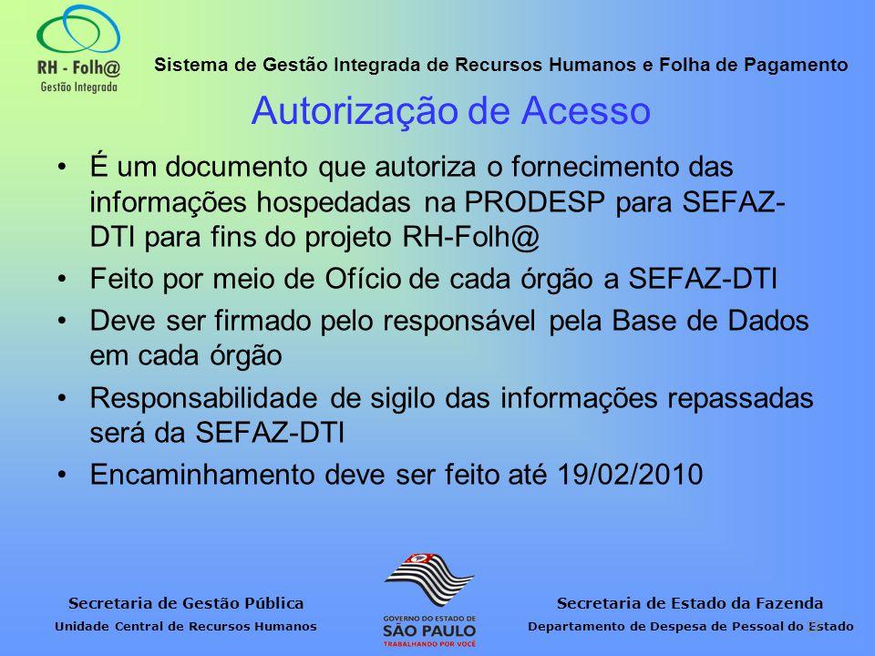 Autorização de Acesso É um documento que autoriza o fornecimento das informações hospedadas na PRODESP para SEFAZ-DTI para fins do projeto RH-Folh@