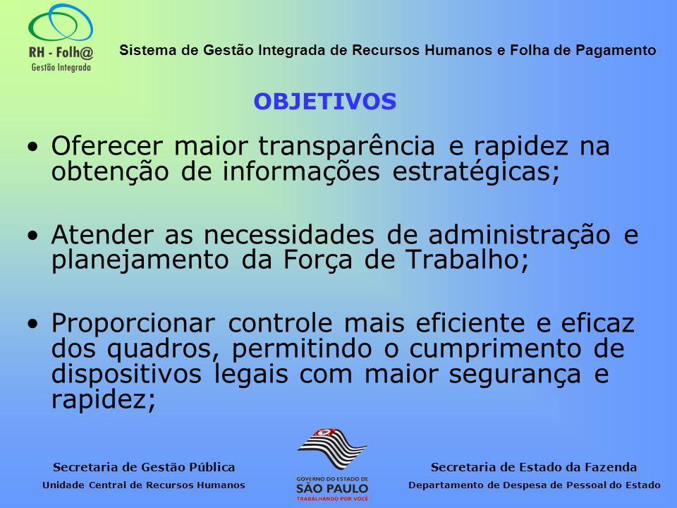 OBJETIVOS Oferecer maior transparência e rapidez na obtenção de informações estratégicas;