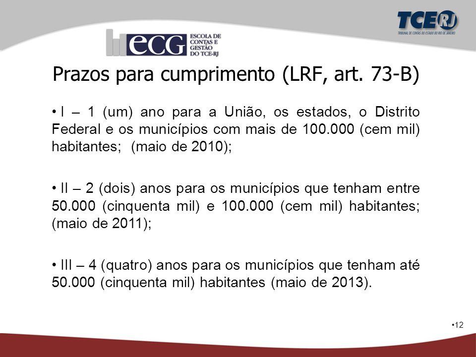 Prazos para cumprimento (LRF, art. 73-B)