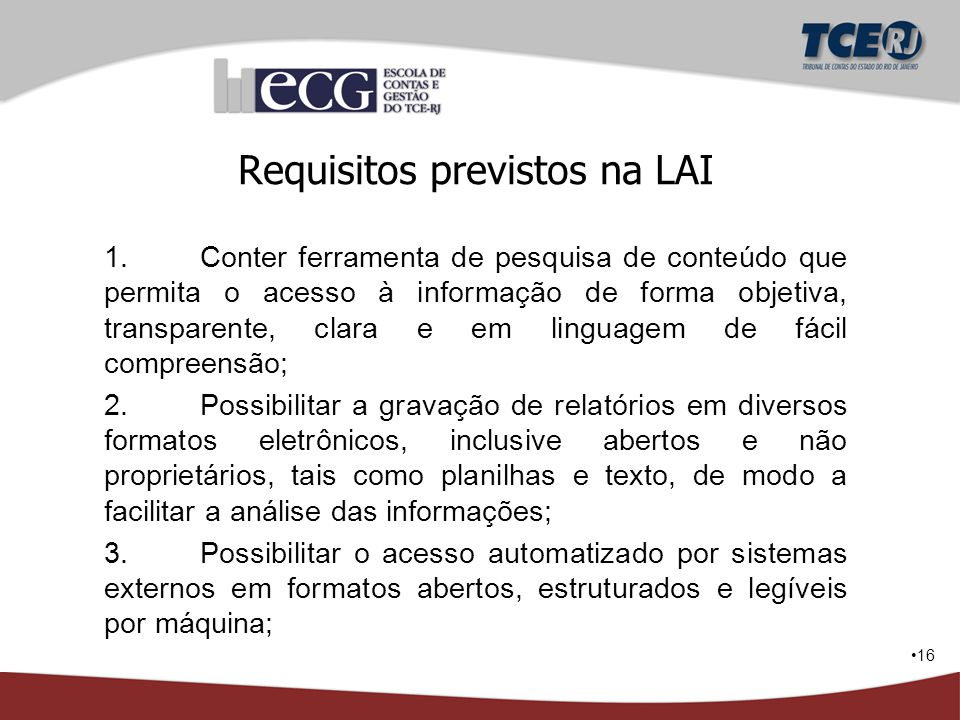Requisitos previstos na LAI