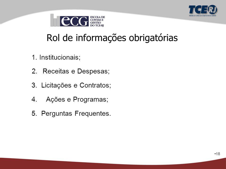 Rol de informações obrigatórias