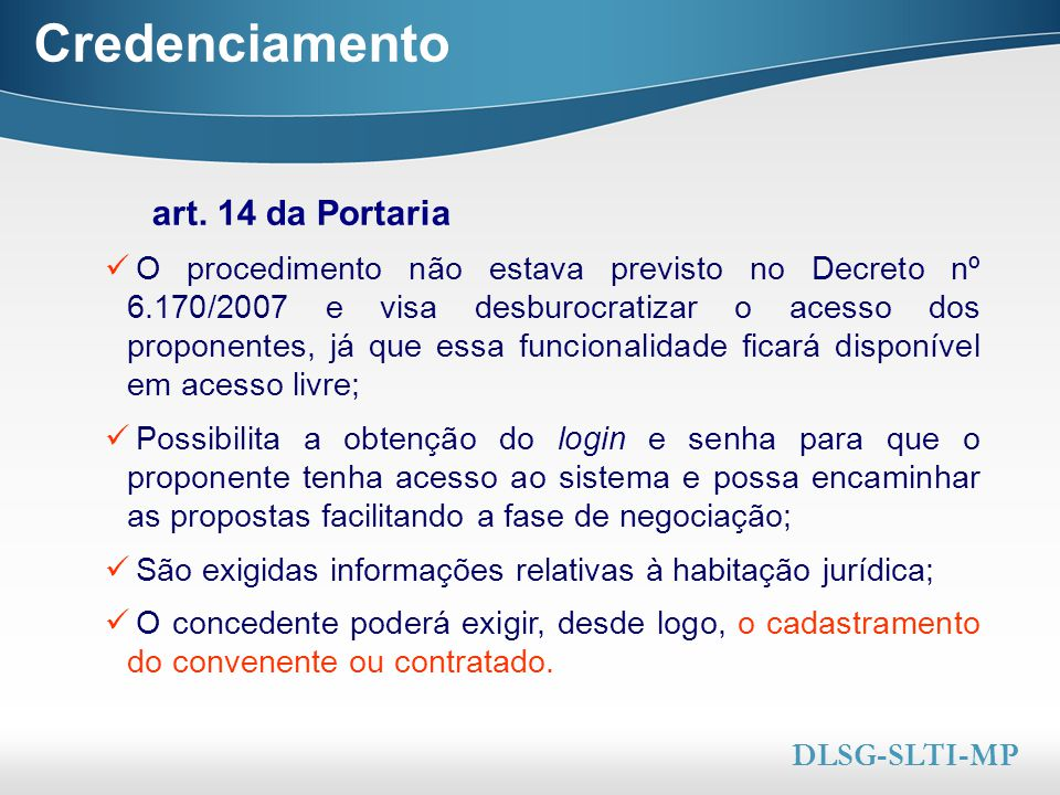 Credenciamento art. 14 da Portaria