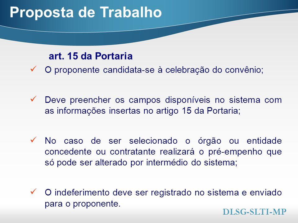 Proposta de Trabalho art. 15 da Portaria