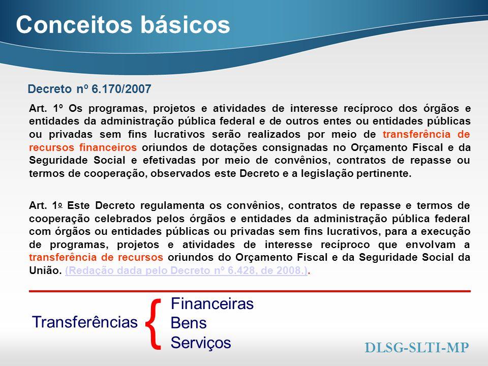 Conceitos básicos { Financeiras Transferências Bens Serviços