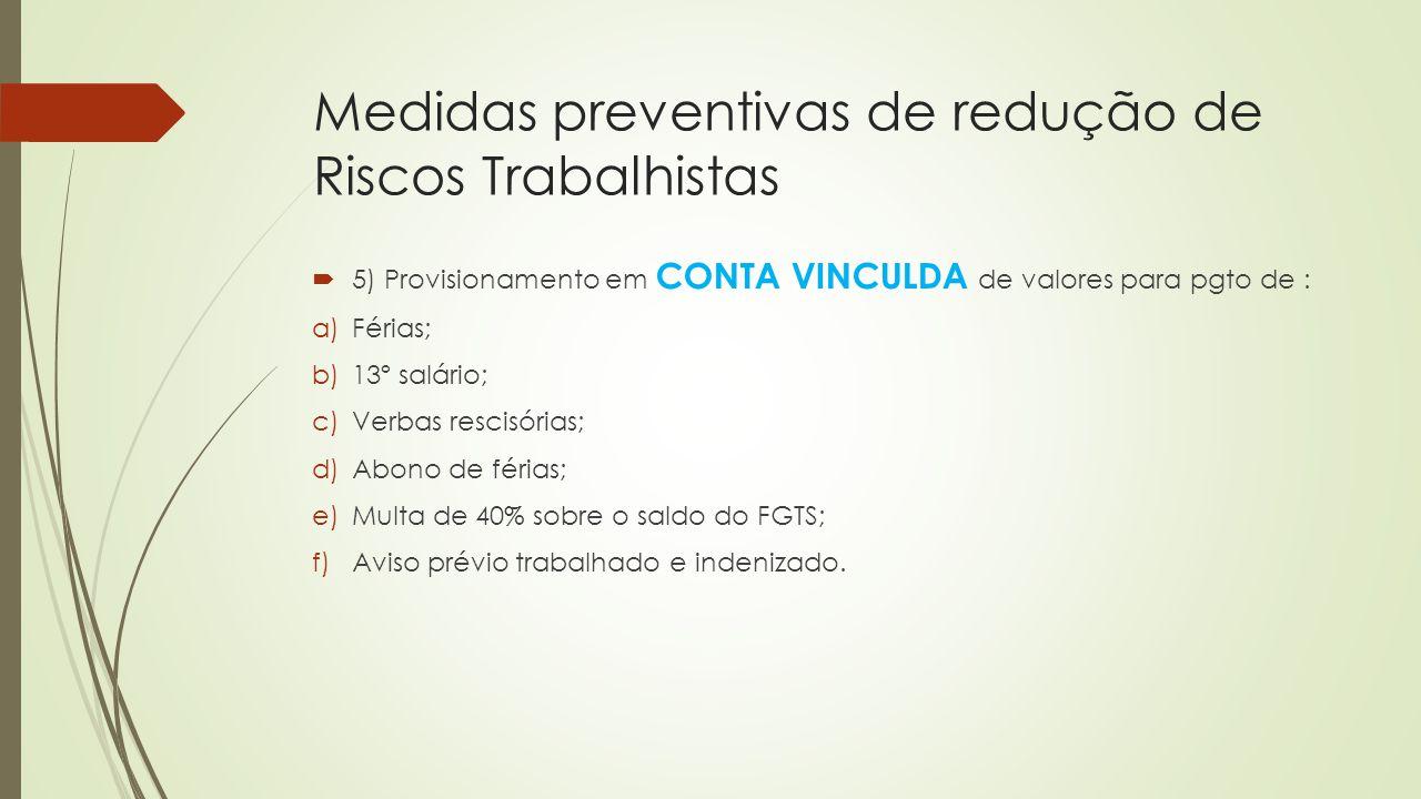 Medidas preventivas de redução de Riscos Trabalhistas