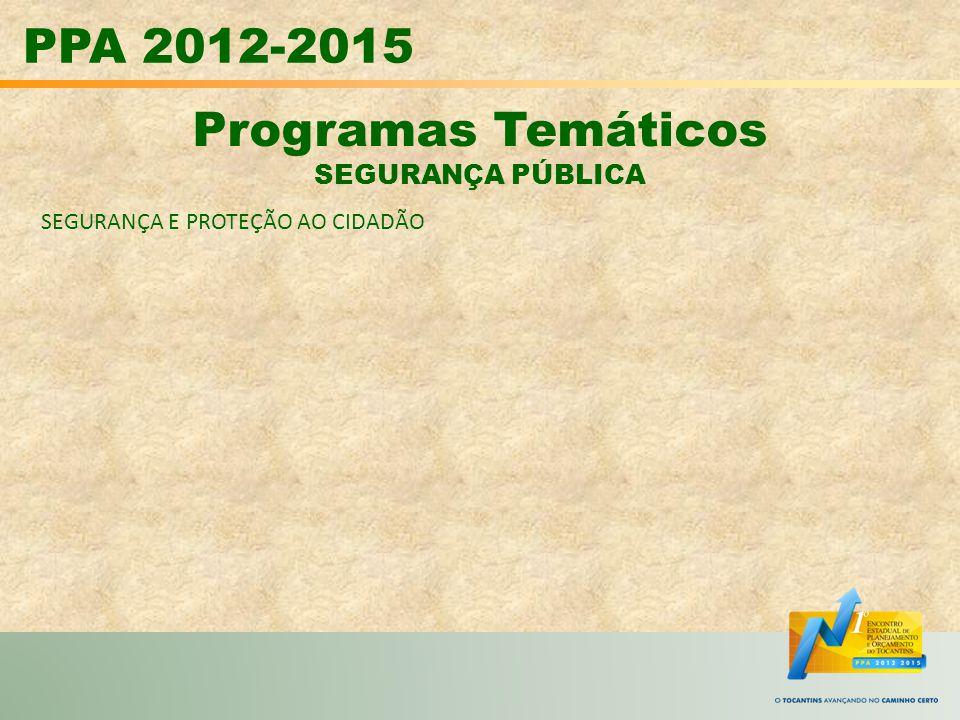 PPA 2012-2015 Programas Temáticos SEGURANÇA PÚBLICA
