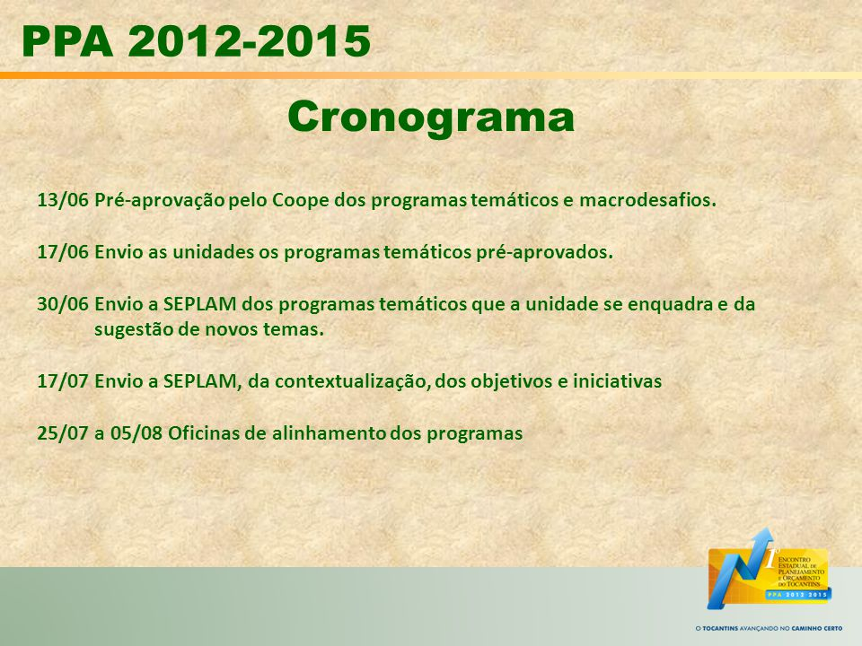 PPA 2012-2015 Cronograma. 13/06 Pré-aprovação pelo Coope dos programas temáticos e macrodesafios.