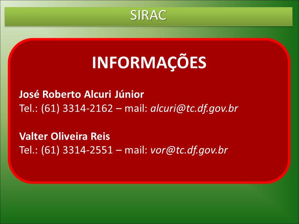 INFORMAÇÕES SIRAC José Roberto Alcuri Júnior