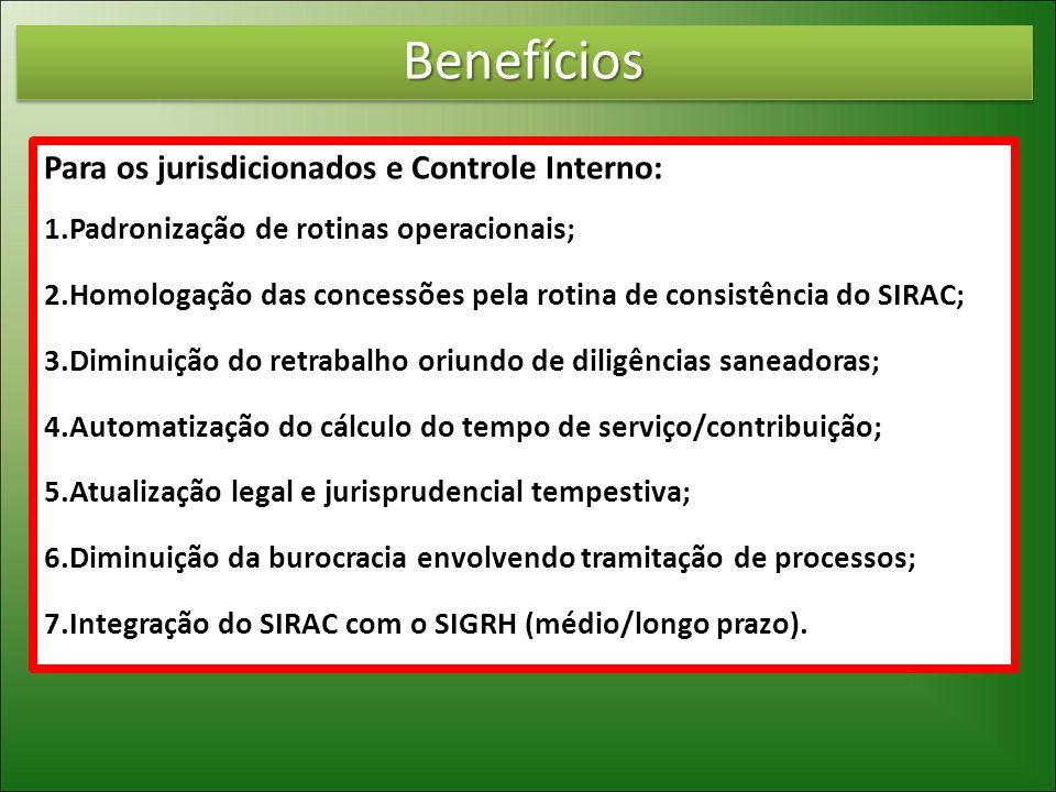 Benefícios Para os jurisdicionados e Controle Interno: