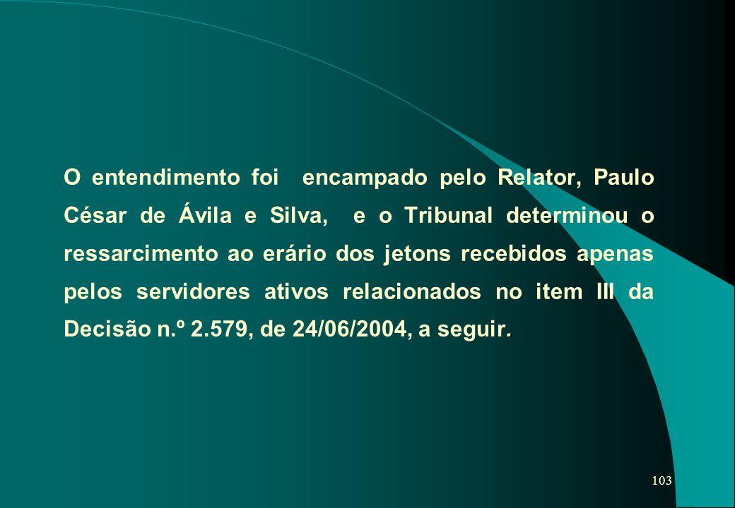 O entendimento foi encampado pelo Relator, Paulo César de Ávila e Silva, e o Tribunal determinou o ressarcimento ao erário dos jetons recebidos apenas pelos servidores ativos relacionados no item III da Decisão n.º 2.579, de 24/06/2004, a seguir.