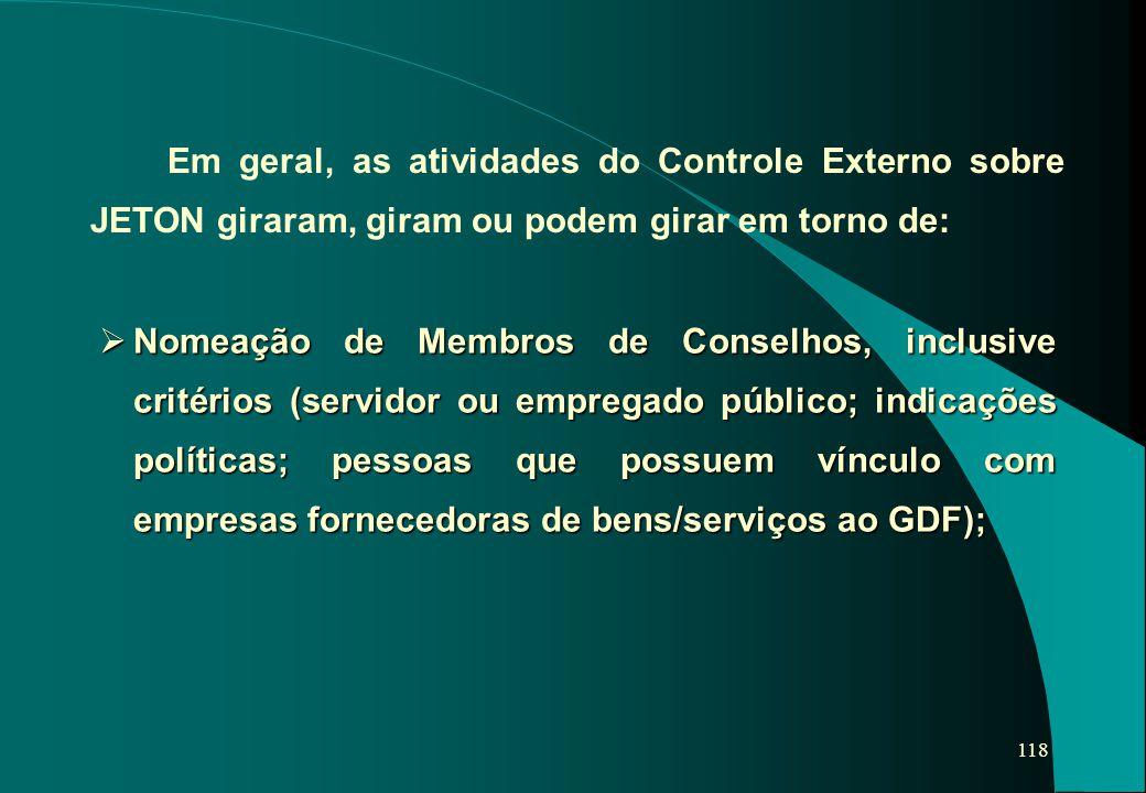Em geral, as atividades do Controle Externo sobre JETON giraram, giram ou podem girar em torno de: