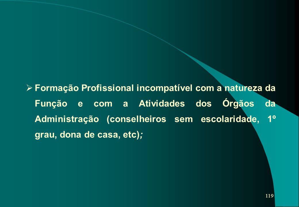 Formação Profissional incompatível com a natureza da Função e com a Atividades dos Órgãos da Administração (conselheiros sem escolaridade, 1º grau, dona de casa, etc);