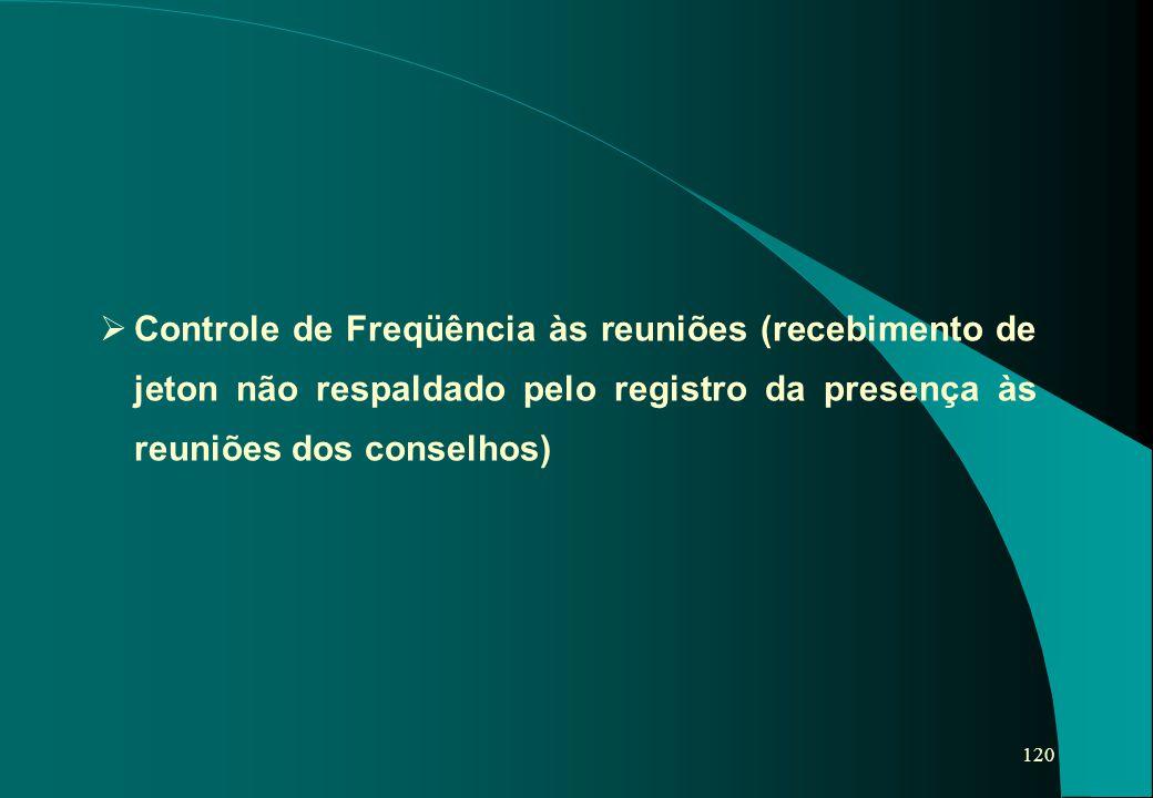 Controle de Freqüência às reuniões (recebimento de jeton não respaldado pelo registro da presença às reuniões dos conselhos)