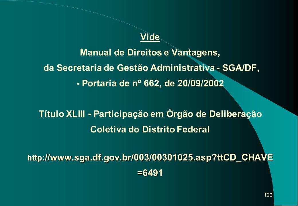Vide Manual de Direitos e Vantagens, da Secretaria de Gestão Administrativa - SGA/DF, - Portaria de nº 662, de 20/09/2002 Título XLIII - Participação em Órgão de Deliberação Coletiva do Distrito Federal http://www.sga.df.gov.br/003/00301025.asp ttCD_CHAVE=6491