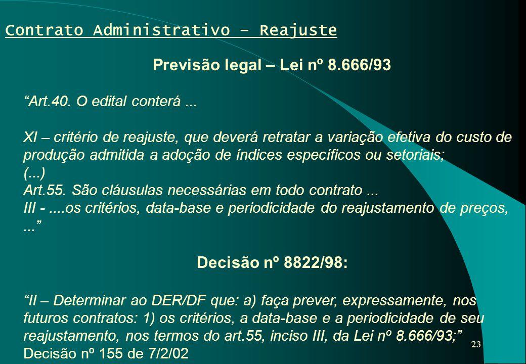 Previsão legal – Lei nº 8.666/93