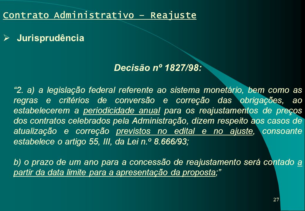 Contrato Administrativo – Reajuste Jurisprudência