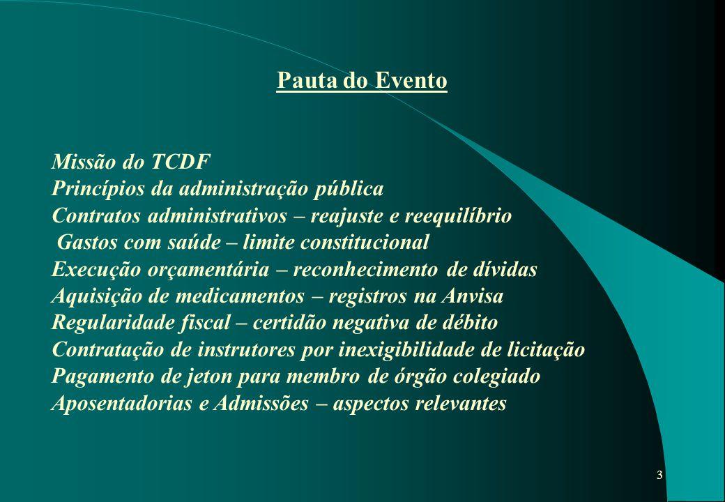 Pauta do Evento Missão do TCDF Princípios da administração pública