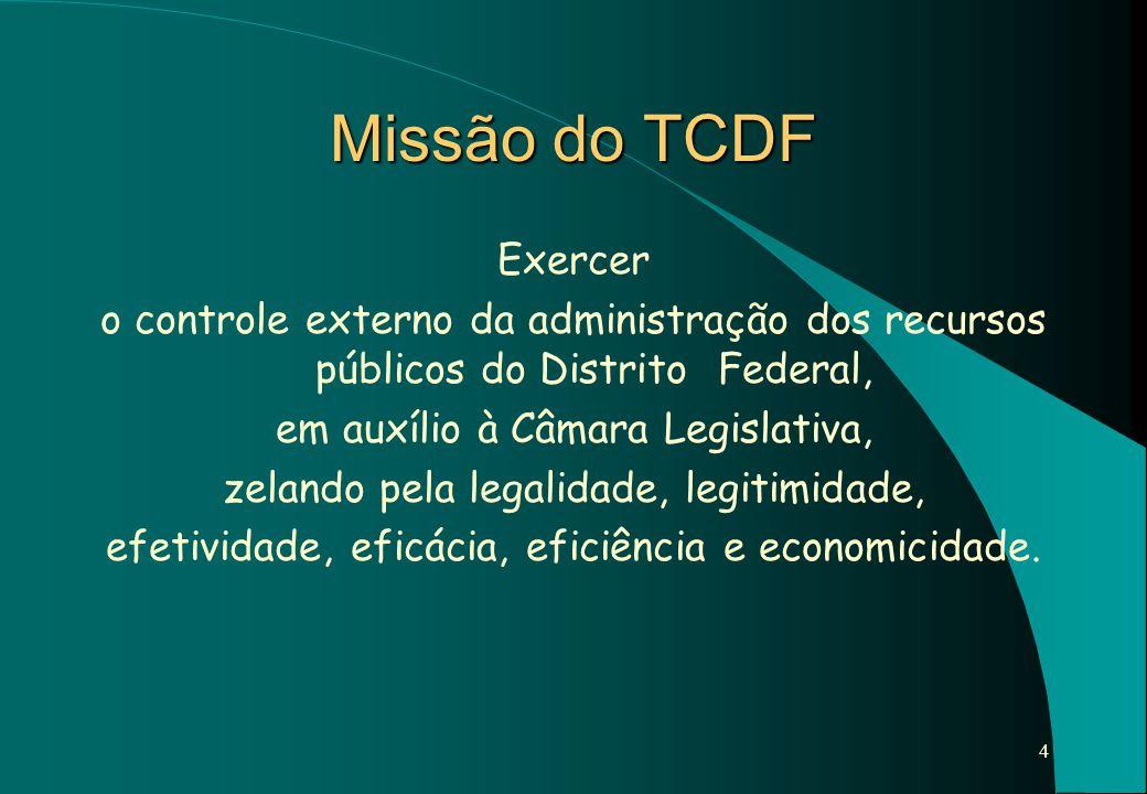Missão do TCDF Exercer. o controle externo da administração dos recursos públicos do Distrito Federal,