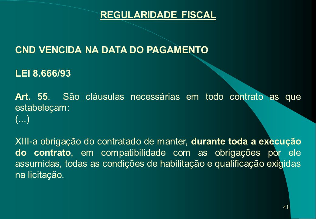 CND VENCIDA NA DATA DO PAGAMENTO LEI 8.666/93