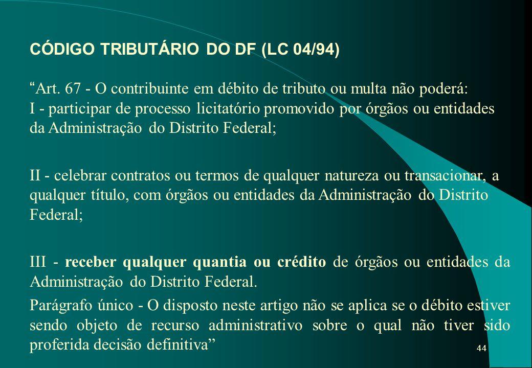 CÓDIGO TRIBUTÁRIO DO DF (LC 04/94)