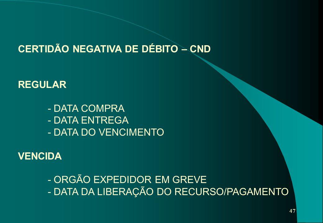 CERTIDÃO NEGATIVA DE DÉBITO – CND