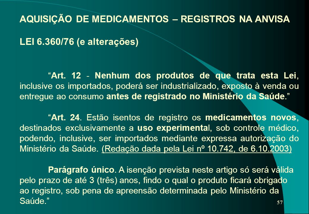 AQUISIÇÃO DE MEDICAMENTOS – REGISTROS NA ANVISA